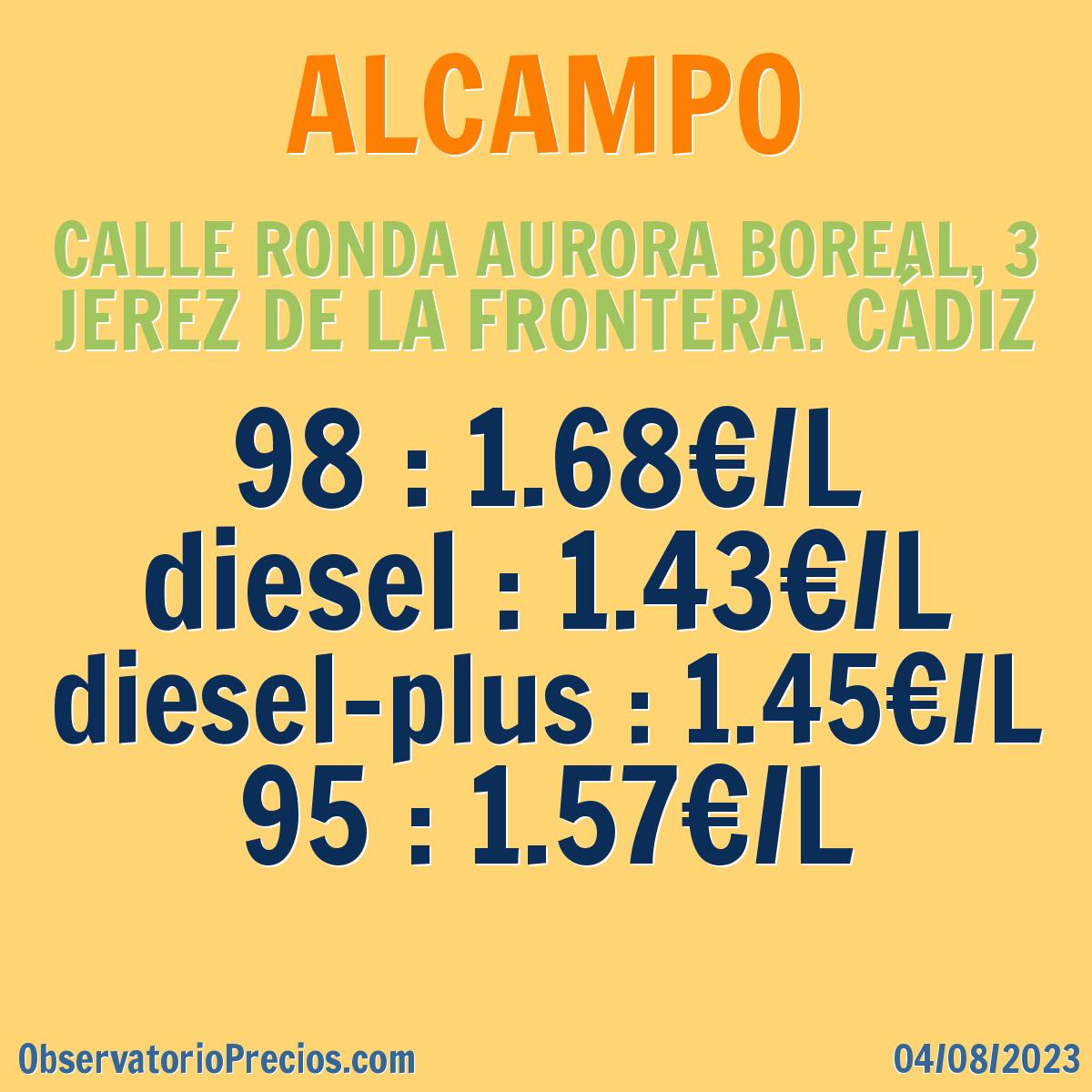 Gasolinera alcampo en jerez de la frontera gasolina 95 g for Calle prado jerez 3 navacerrada
